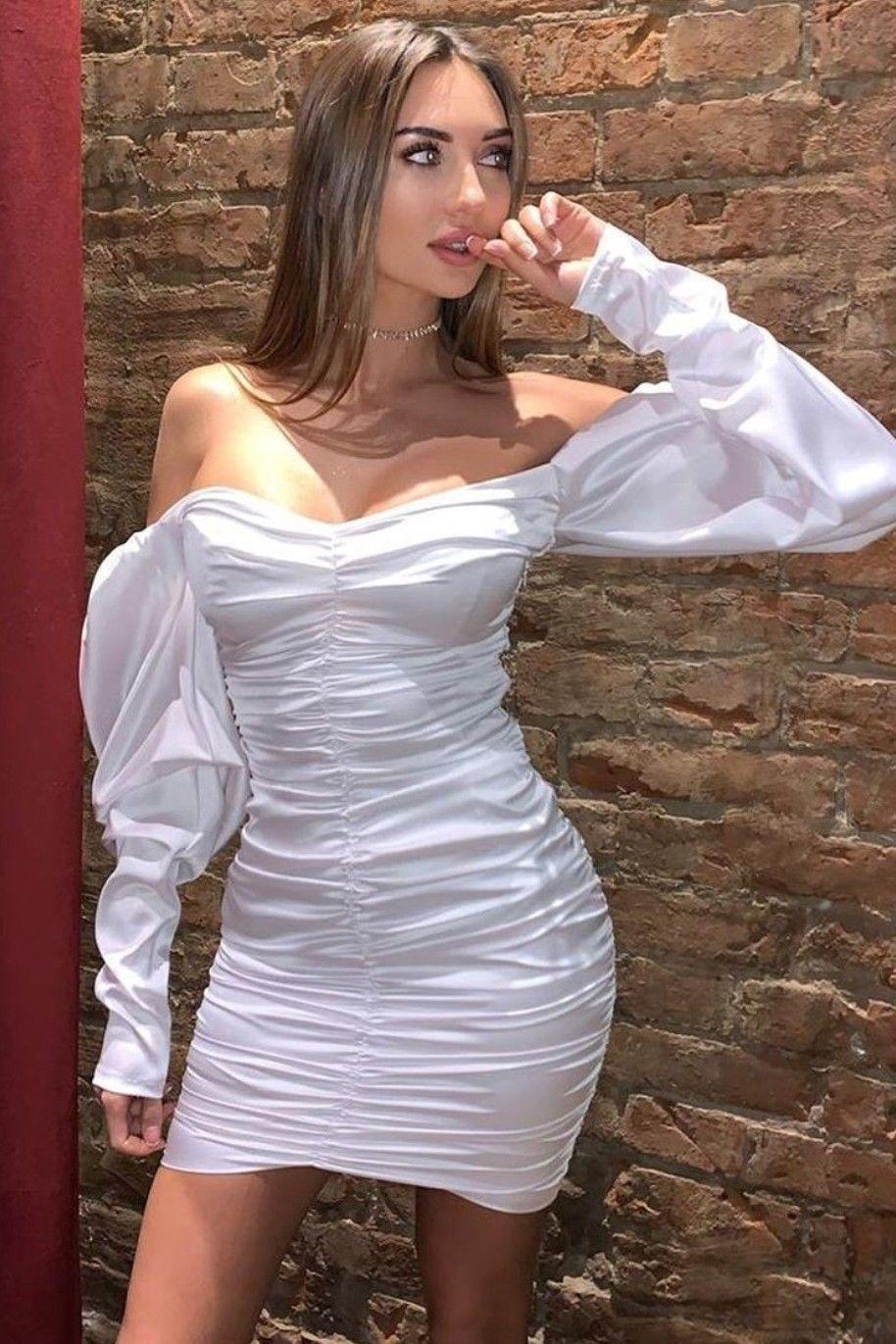 Rochie de seara cu umeri bufanti Ansel - Alb