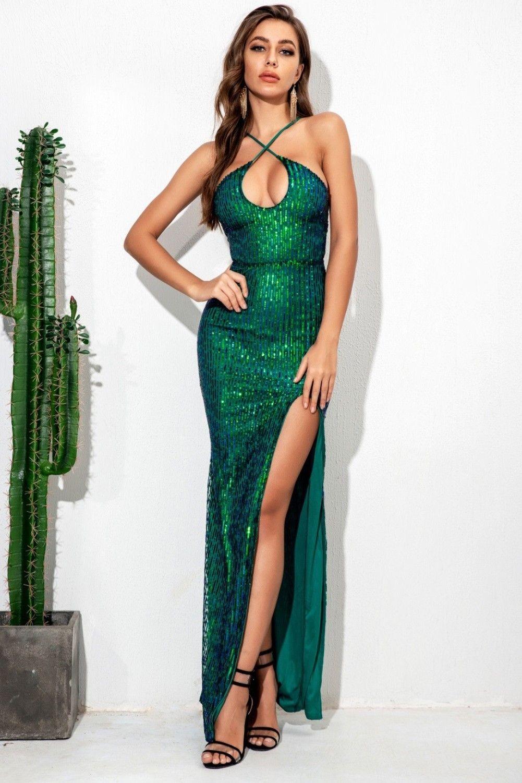Rochie lunga eleganta cu crepatura pe picior Azir Green