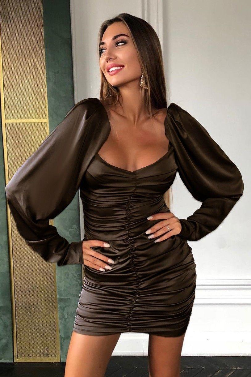 Rochie de seara cu umeri bufanti Ansel - Elegance Brown