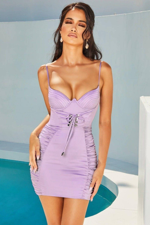 Rochie scurta din satin cu spatele gol Zarya Purple