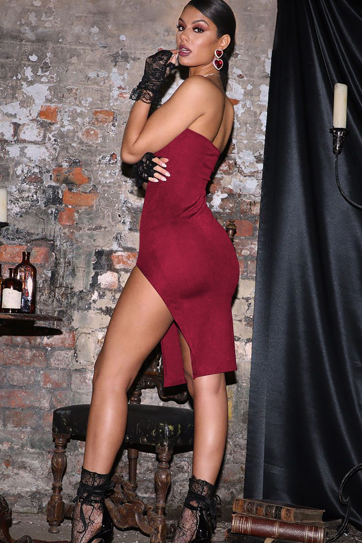 Rochie de seara cu decupaj pe picior Sadira Red