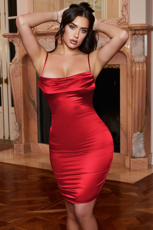 Rochie scurta din satin cu spatele gol Indigo Red