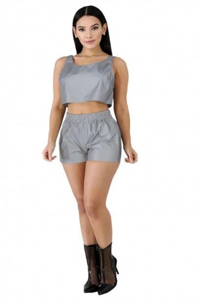 Compleu Silver Reflective format din top si pantaloni scurți  - 1