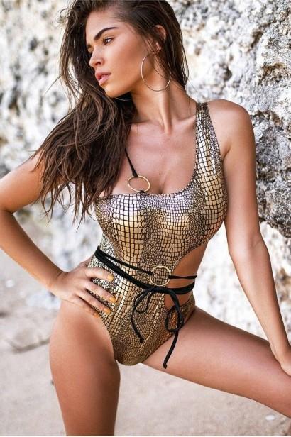 Costum de baie Snake Skin Gold SCS_B82  - 3