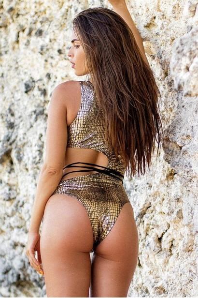 Costum de baie Snake Skin Gold SCS_B82  - 4