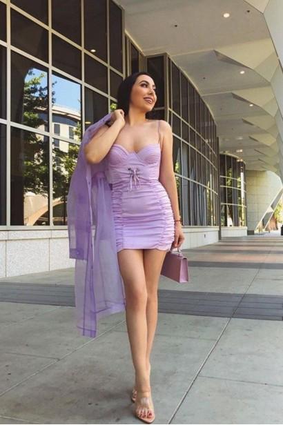 Rochie scurta din satin cu spatele gol Zarya Purple  - 7