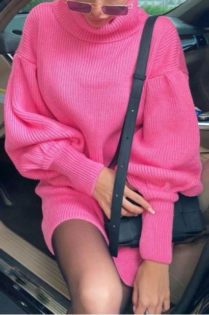 Rochie scurta pulovar cu guler Maeva Pink  - 1
