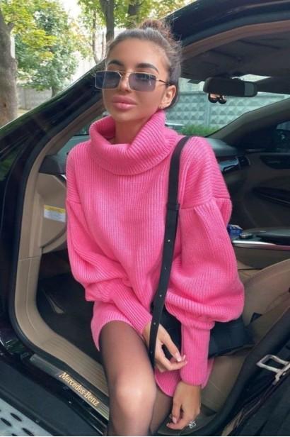 Rochie scurta pulovar cu guler Maeva Pink  - 3