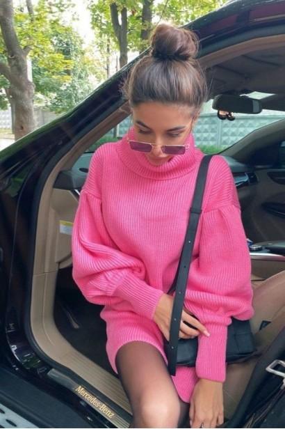 Rochie scurta pulovar cu guler Maeva Pink  - 4