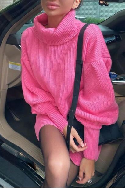Rochie scurta pulovar cu guler Maeva Pink  - 5