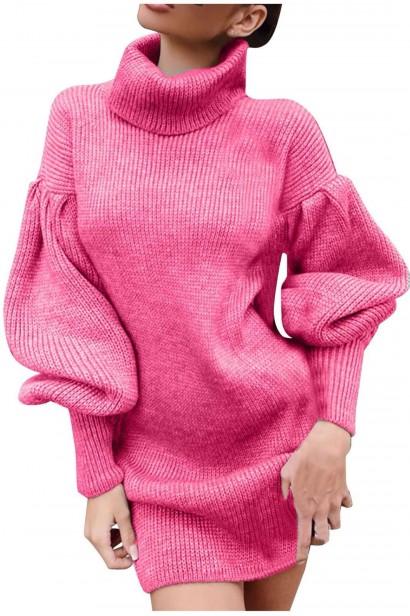 Rochie scurta pulovar cu guler Maeva Pink  - 6