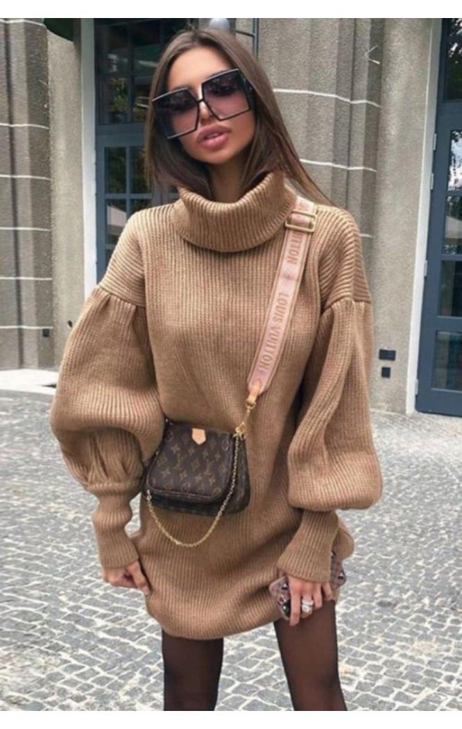 Rochie scurta pulovar cu guler Maeva Crem  - 1