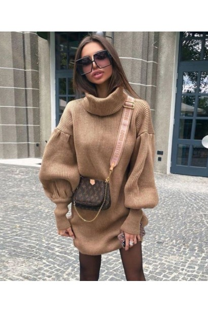Rochie scurta pulovar cu guler Maeva Crem  - 3