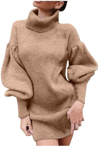 Rochie scurta pulovar cu guler Maeva Crem  - 4