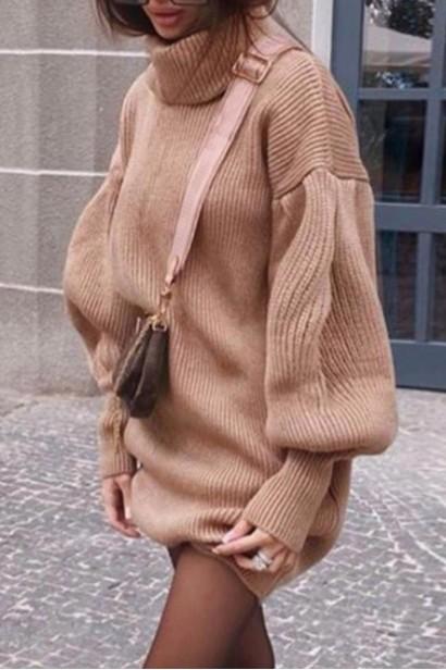 Rochie scurta pulovar cu guler Maeva Crem  - 5