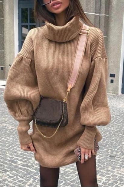 Rochie scurta pulovar cu guler Maeva Crem  - 6