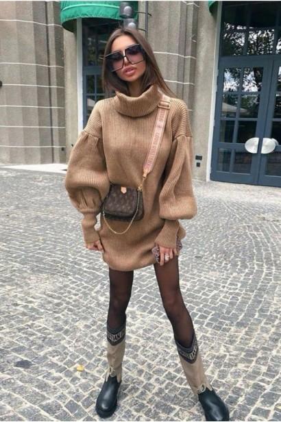 Rochie scurta pulovar cu guler Maeva Crem  - 7