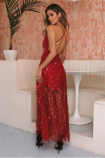 Rochie lunga din paiete cu spatele gol Lady In Red  - 1