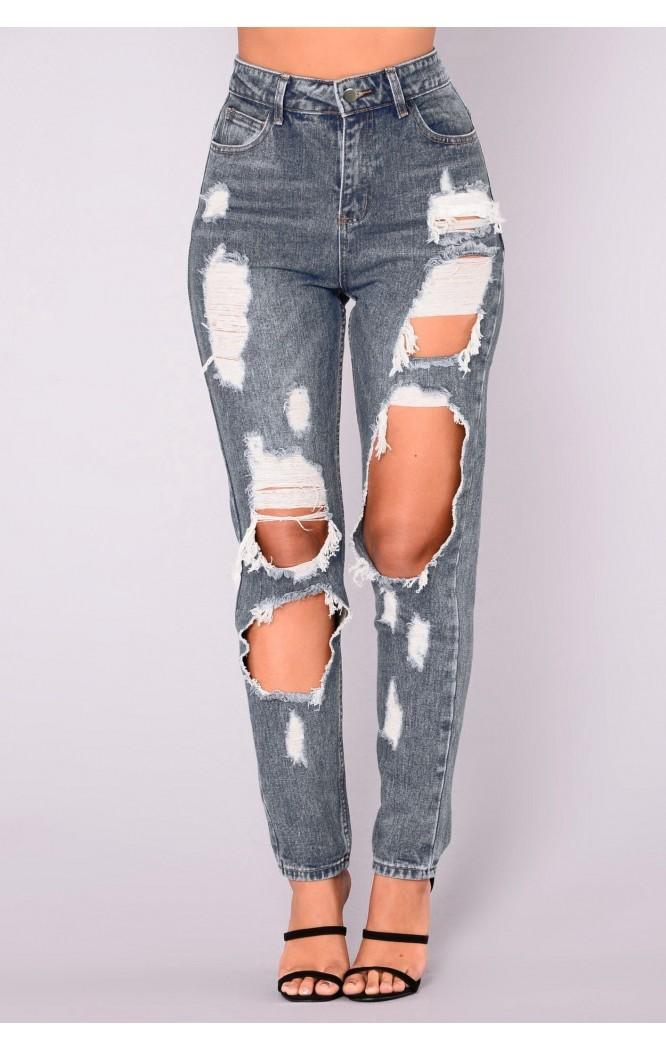 Blugi taiati cu talie inalta Ripped Jeans  - 6