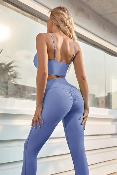Compleu format din colanti si bustiera Yoga Fitness - Albastru  - 1