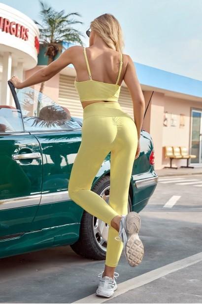 Compleu format din colanti si bustiera Yoga Fitness - Yellow  - 1