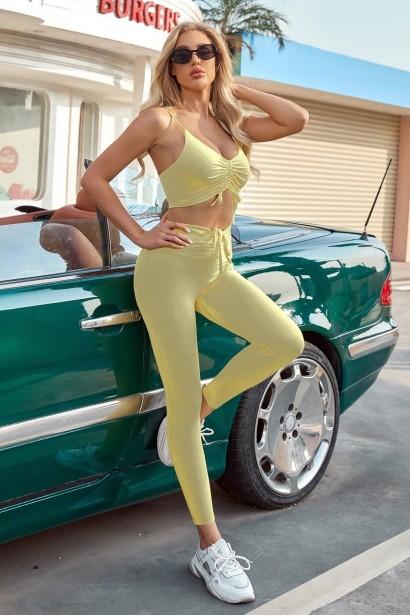 Compleu format din colanti si bustiera Yoga Fitness - Yellow  - 2