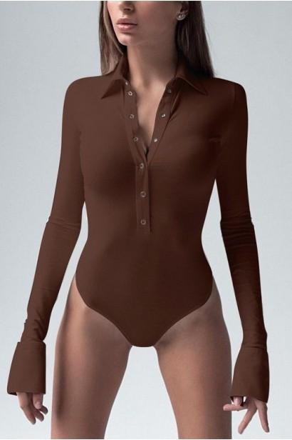 Body femei cu mâneci lungi și guler Cellar Brown  - 1