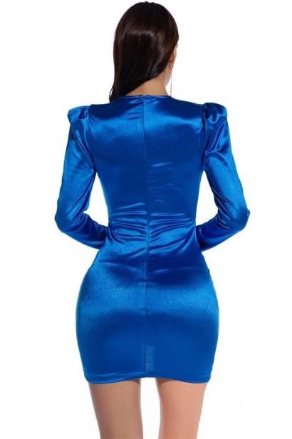 Rochie scurta cu maneci lungi Esmeralda - Blue  - 6