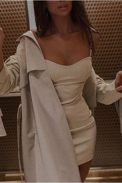 Rochie scurta cu spatele gol Jolie - Bej  - 4