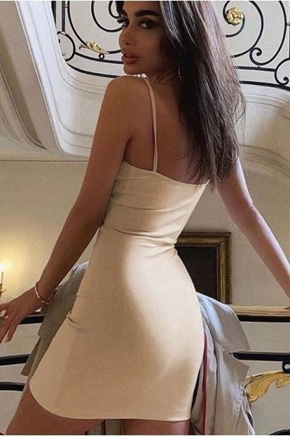 Rochie scurta cu spatele gol Jolie - Bej  - 7