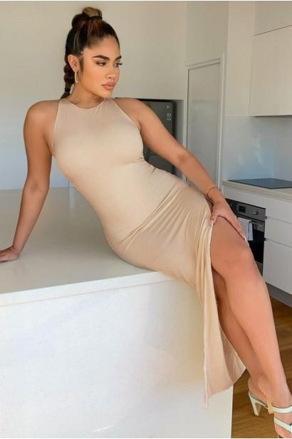 Rochie lunga cu spatele gol Gabrielle - Bej  - 1