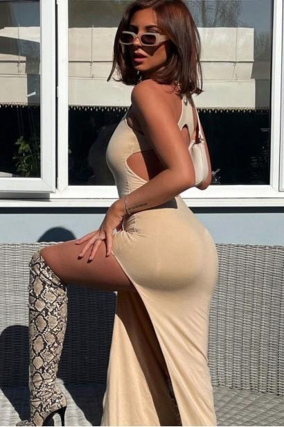 Rochie lunga cu spatele gol Gabrielle - Bej  - 4