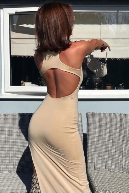 Rochie lunga cu spatele gol Gabrielle - Bej  - 5