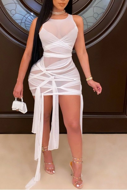 Rochie scurta transparenta Alezzy - White  - 1