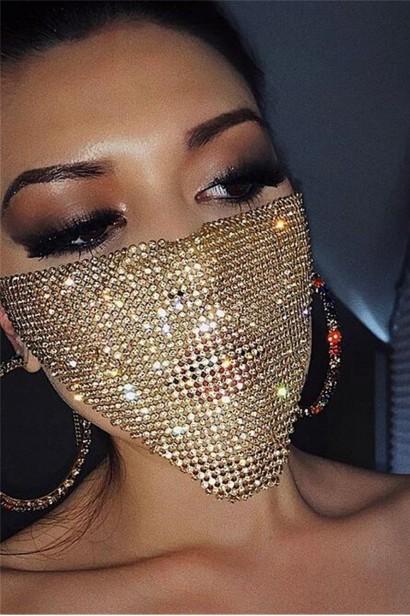 Accesoriu fata tip masca Gold Crystals  - 1