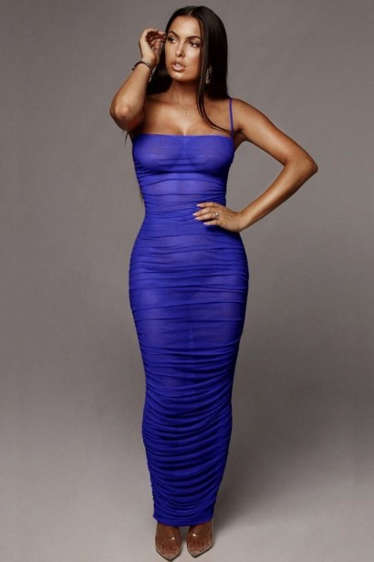 Rochie sexy lunga transparenta Aviva Blue  - 1