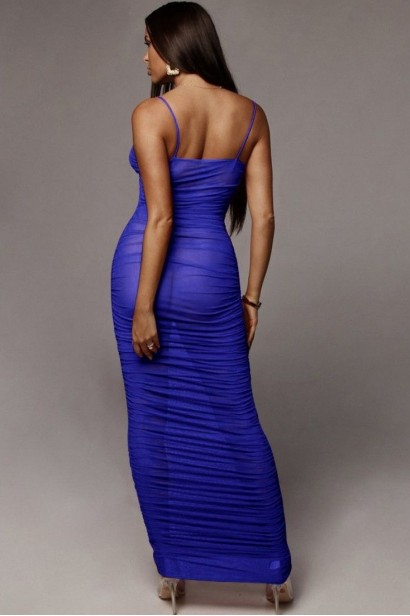 Rochie sexy lunga transparenta Aviva Blue  - 3