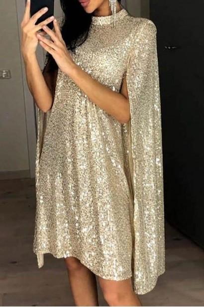 Rochie din paiete cu maneci decupate Luxury Gold X  - 1