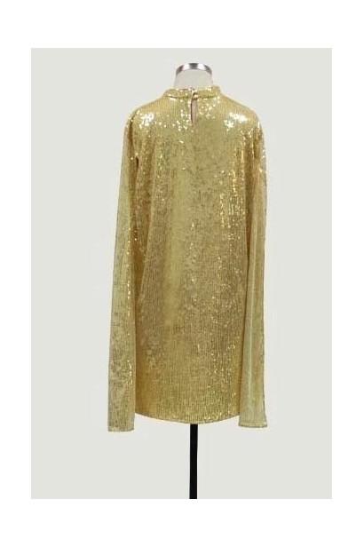 Rochie din paiete cu maneci decupate Luxury Gold X  - 4