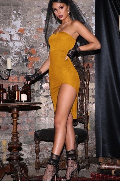 Rochie de seara cu decupaj pe picior Sadira Yellow  - 1
